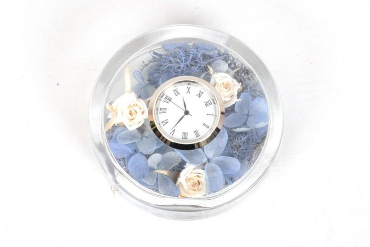 Natural Preserved Flowers in Durable Acrylic Clock Case-Blue #Flowerbiz
