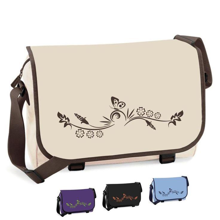 Messenger-Bag SCHMETTERLING Schultasche Uni Mädchen Damen Schultertasche