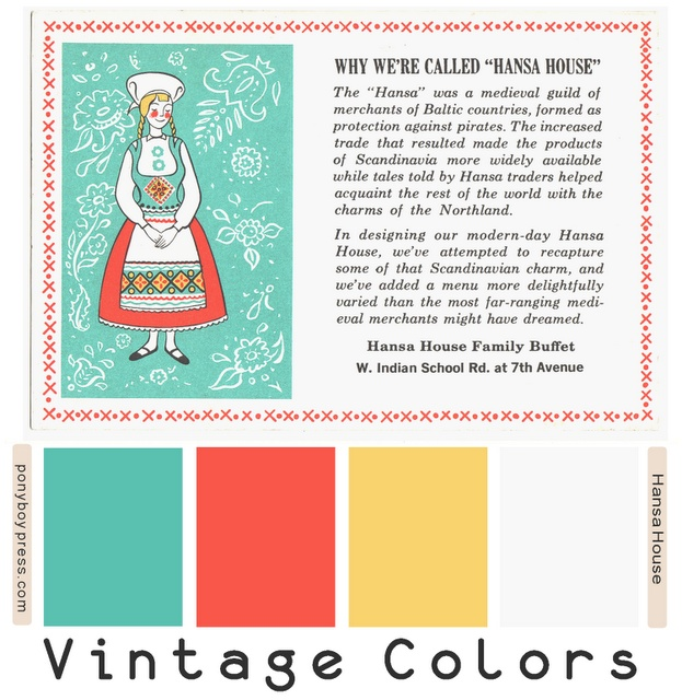 color palettes - scandinavian inspired from a vintage postcard. see blog for hex color numbers