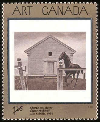 Church and Horse, 1964, Alex Colville. Canadian Post stamp, Issued March 22, 2002