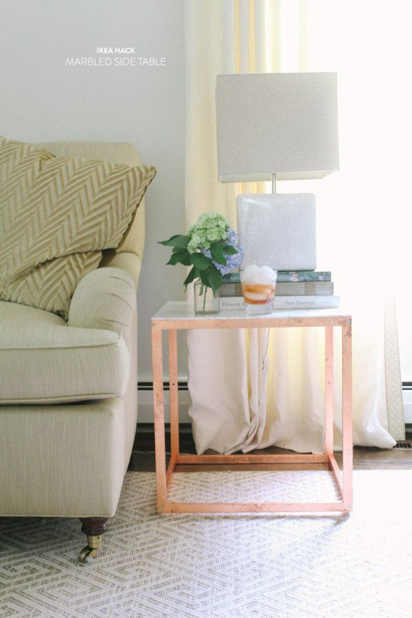 IKEA side table hack. Love the lock of copper leaf and had never thought of contact paper. Fun!