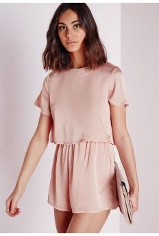 Silky Double Layer Romper Dusky Pink