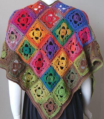Mini Mochi Flower Garden Shawl: Flowers Gardens, Free Pattern, Gardens Shawl, Minis Mochi, Crochet Patterns, Mochi Flowers, Crochet Shawl, Crystals Palaces, Flowers Granny Squares