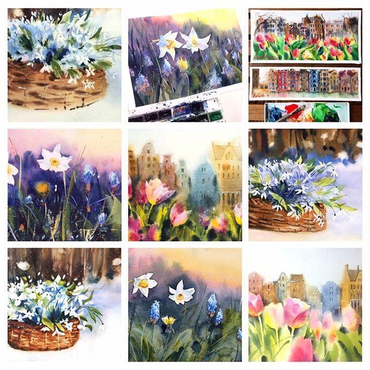 """Все участники акварельного марафона """"Первоцветы"""" - молодцы и чемпионы! ☀☀☀Я знаю, что мой способ рисовать не самый лёгкий. А классных работ уже так много!.. Всем художникам хорошего дня и вдохновения!   #акварельнаяоттепель #сергейкурбатов #акварель #watercolor #artclasses #flowers #первоцветы"""