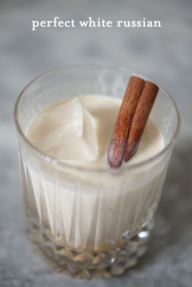 Perfect White Russian Ingredients  1.5 oz vodka  1 oz Kahlua (or your preferred coffee liqueur) 1 oz heavy cream 1 cinnamon stick (optional) 2-3 large ice cubes Recipe   1. Place ice cubes in a lowball glass. Add vodka, Kahlua and heavy cream. 2. Stir with cinnamon stick to add a little flavor (or a spoon to keep it traditional). Leave cinnamon stick in as a garnish.