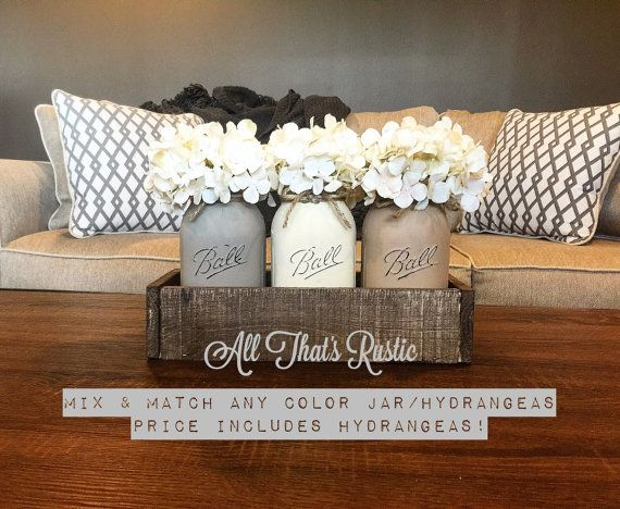 Neutral Toned Mason Jar Centerpiece Mason Jar por AllThatsRustic