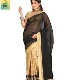 Buy Sati black and beige benarasi cotton saree banarasi-silk-saree online