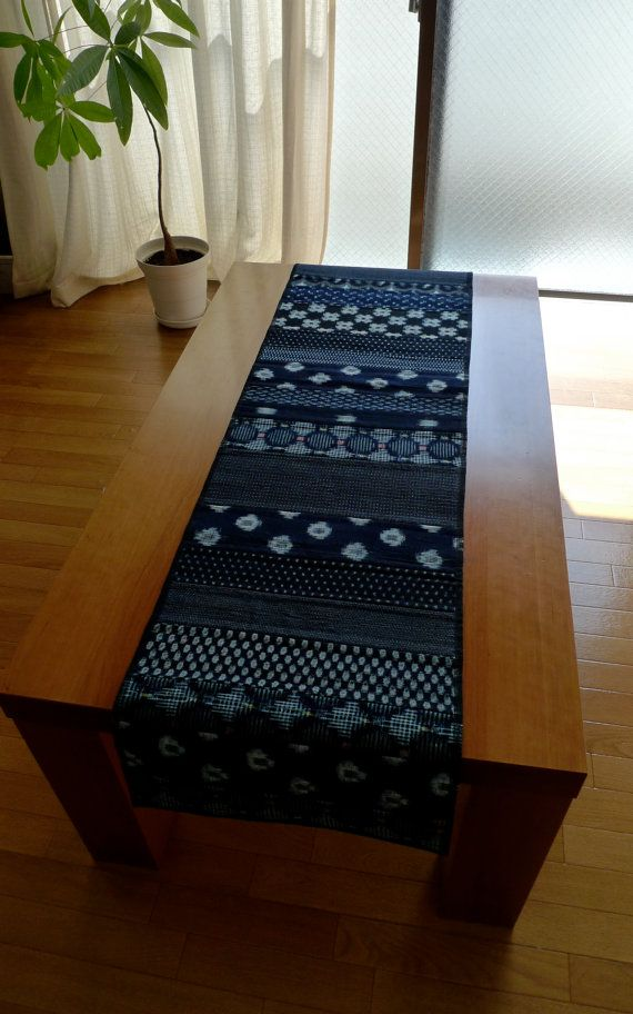 Vintage Indigo Patchwork Table Runner Medium Length