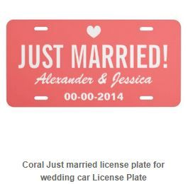Just Married license plate customizable for your favorite bride and groom! Express yourself with a custom front license plate to match your vanity plate! Create your designs from scratch or customize it with your images or text for a vibrantly printed license plate that will stand out. Made with aluminum, these plates are water-resistant and appropriate for operational use in states that do not require 2 plates. Great as a gift or for anyone who is licensed to drive!