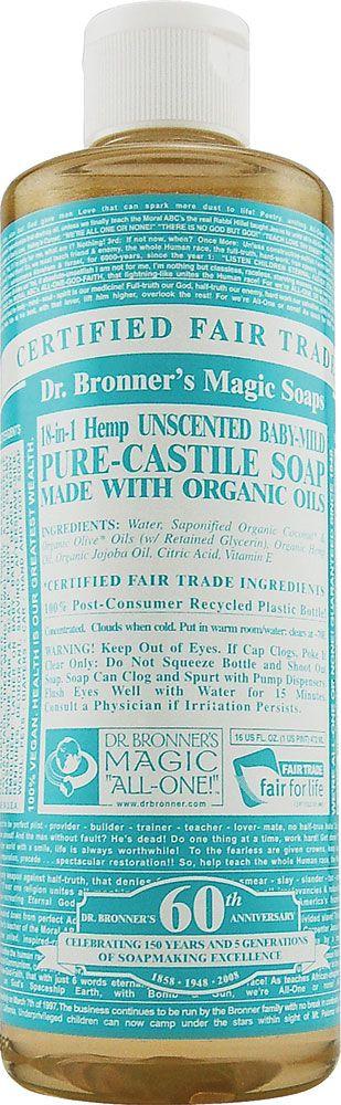 Dr. Bronner's Organic Pure Castile Liquid Soap Baby Mild Unscented -- 16 fl oz
