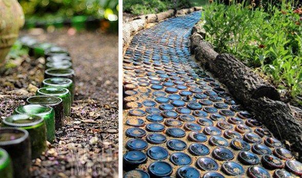 переработанные стеклянные бутылки DIY сад граница дорога
