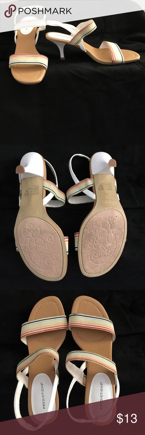"""Summer Sandals Sz 8.5 These are in new condition. The white and multi coloured and gold straps make it easy to match with casual and dress. The heal is 2.5"""". Predictions Shoes Sandals"""