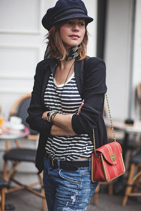Great outfit - including the hat & scarf, but not the purse - but too much distressing on the jeans for me.