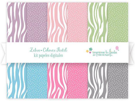 Papeles Digitales Kit Zebra Colores Pastel por ImprimeTuFiesta. Úsalos para Scrapbooking, manualidades, decoupage y mucho más! Kit disponible hoy en Imprime tu Fiesta #digitalpaper