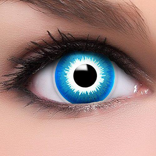Linsenfinder Farbige Kontaktlinsen blau 'Elf' +Kombilösung +Behälter ohne Stärke blaue Fun Crazy Linsen perfekt zu Halloween und Karneval
