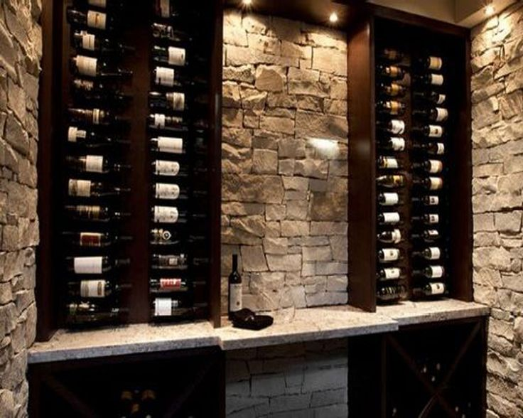Small wine cellar idea--love the stone and color of the wood