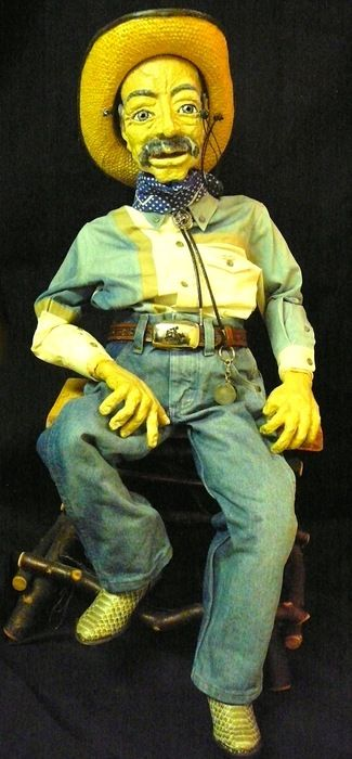 Auction item 'Old Cowboy Puppet with Wooden Willow Branch Stool' hosted online at 32auctions.