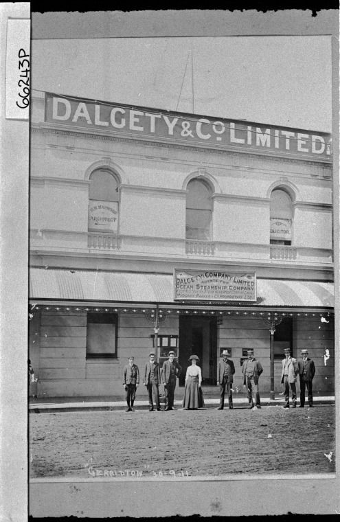 066243PD: Dalgety & Company building with staff standing outside, Geraldton, 1911 http://encore.slwa.wa.gov.au/iii/encore/record/C__Rb3727179?lang=eng
