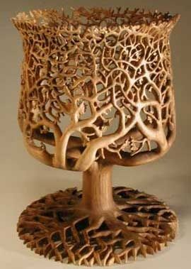 Tree of life wood carving