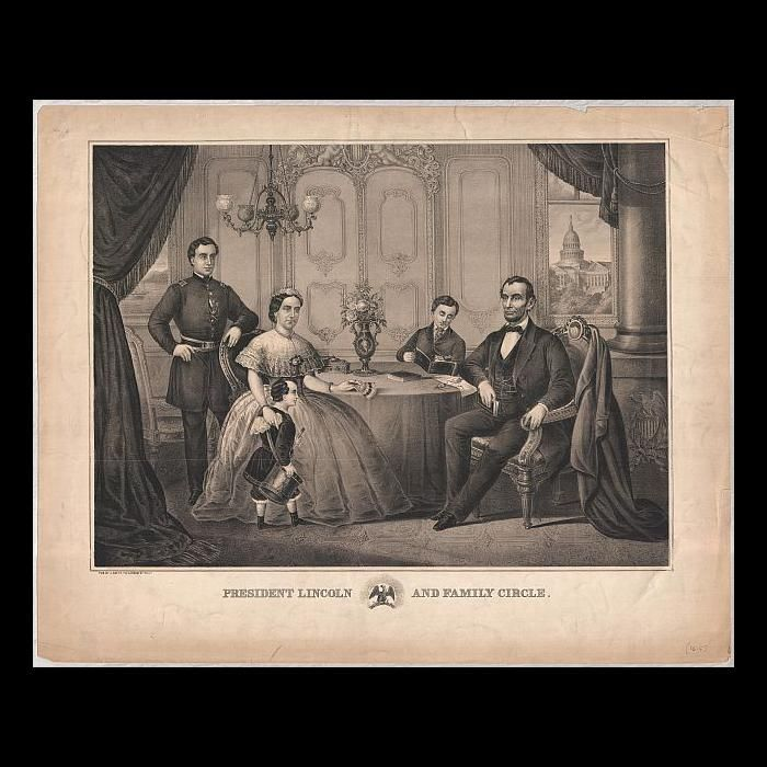 This lithograph is a composite of the family of President Abraham Lincoln gathered together in a parlor setting. Since the Lincoln family never posed together for any artist or photographer, many artists used photographs of the individuals to compose a family scene for printing after Lincoln's death. In this print Mrs. Lincoln is seated to the viewer's left holding a fan in her left hand while her right hand rests on her son's back with a handkerchief in it. A young boy, supposedly Tad…
