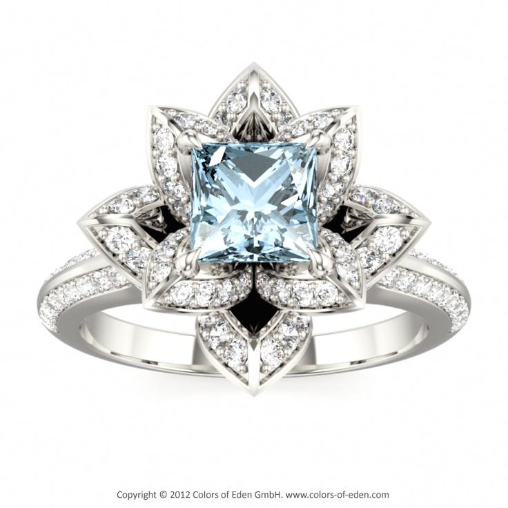 "Lotus Flower Ring in Aquamarine White Gold - ""Lotus Blossom Royal Princess""( my birth stone) love it"