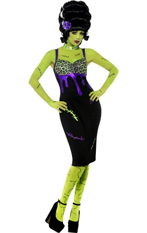 Combine monster and glamour with the Adult Bride of Frankenstein Pin-Up Costume! This costume includes a dress, purple flower and choker. https://www.simplyfancydress.co.uk/bride-of-frankenstein-costume~75147/