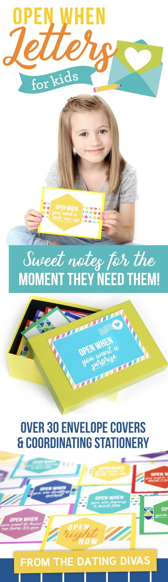 Open When Letters for Kids-  includes over 30 envelope labels and coordinating cards & stationery for writing personalized letters for kids! What an awesome keepsake!