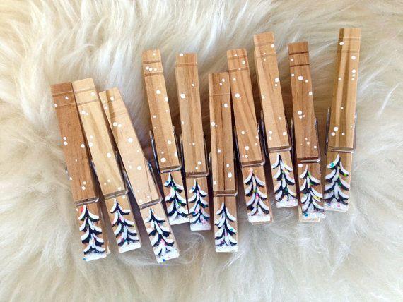 MOLLETTE di Natale verniciati legno e glitter di SugarAndPaint