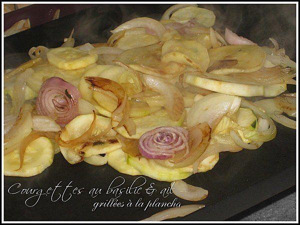 Courgettes au basilic et ail grillées à la Plancha