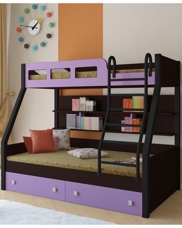 РВ мебель Рио каркас венге/черный фиолетовая  — 21900р. -------- Двухъярусная кровать Рио каркас венге/черный фиолетовая РВ мебель позволит вам значительно сэкономить жизненное пространство и обеспечить два полноценных спальных места.