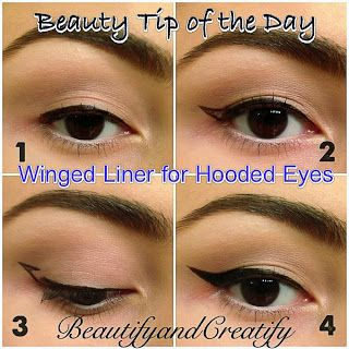 how to create winged eyeliner on hooded lids. Follow blog for more tips and tricks on how to create perfect cat eye