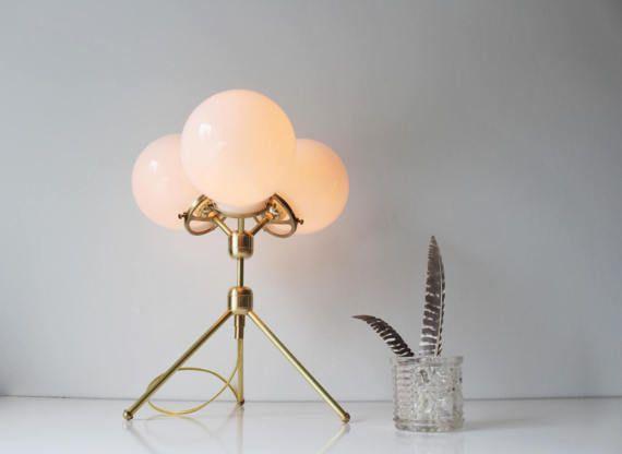 AuBergewohnlich Brass Table Lamp, Tripod Desk Lamp, 3 White Glass Globe Shades, Modern  BootsNGus Designer Lighting U0026 Home Decor