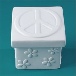 Pottery Peace Sign Box