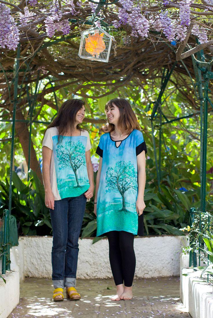 Camisetas y vestidos con el estampado Primavera, basado en una acuarela original de InstintoBcn. #Arboles #Diseño #ropaMijer