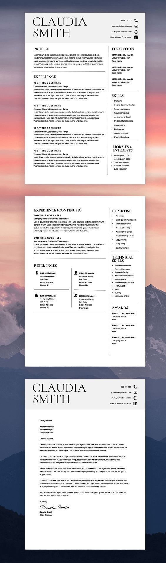 medical resume format%0A Medical Resume Template Word  Minimalist Resume with Cover Letter  Resume  Template Word Mac  Instant Download  Resume Template Word Modern
