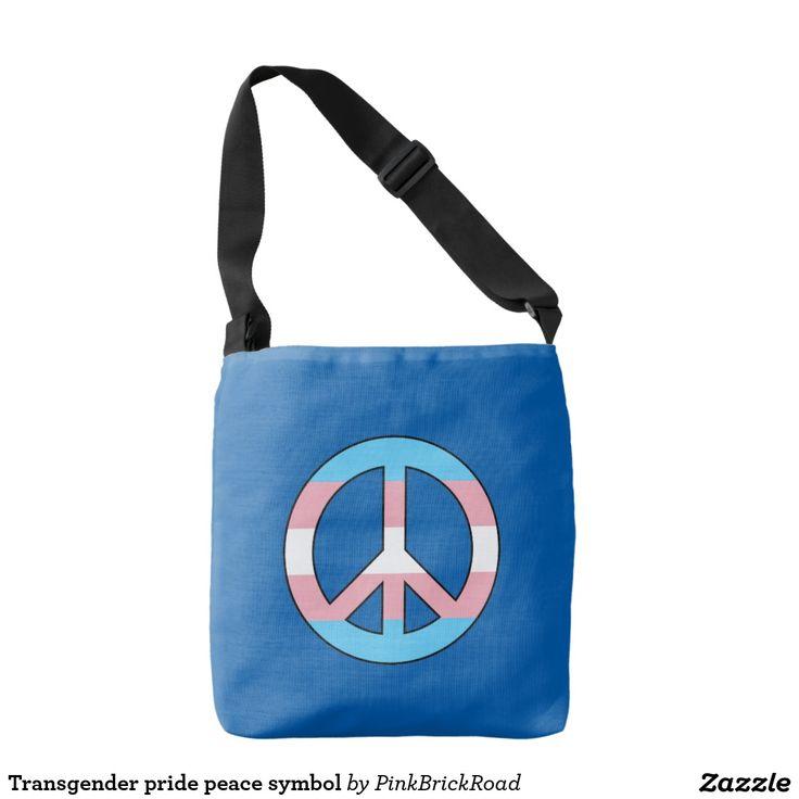 Transgender pride peace symbol tote bag