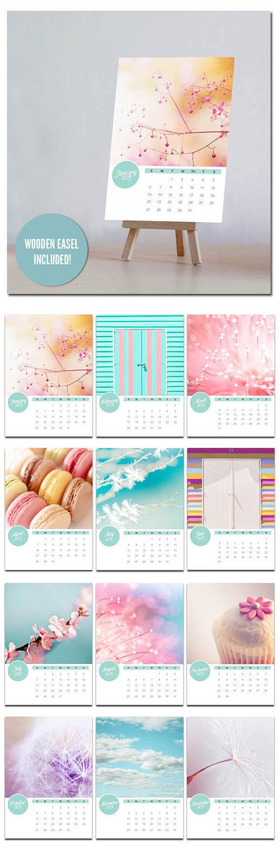 Photography calendar 2013  5x7 mini desk by mylittlepixels on Etsy, $22.00