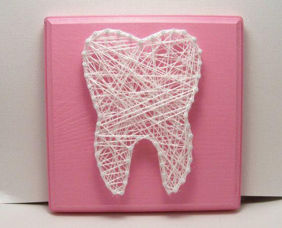 Wisdom tooth string art. Dental art.  Tooth. Molar. Tooth fairy. Dental. Wood plaque. Pink.