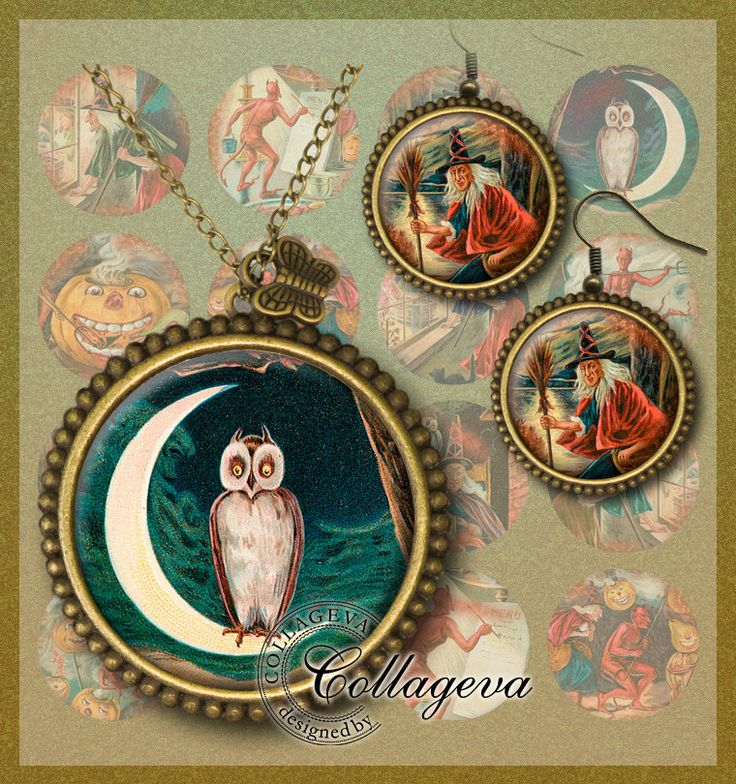 Halloween Devils Digital Collage Sheet 20 18 16 14 12 mm circles round images for earrings rings Witch Creepy Pumpkin Night Owl Moon (EC05-c by collageva on Etsy