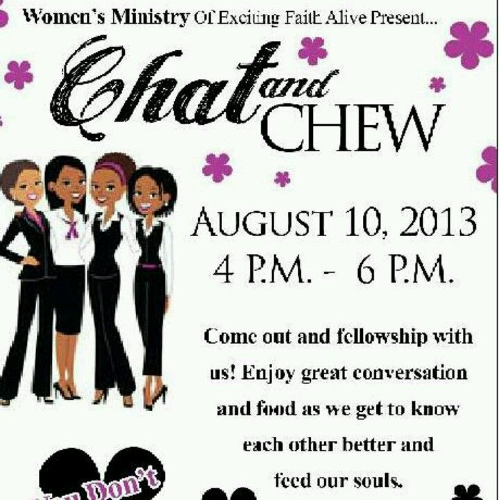 "Ladies Fellowship Ideas | Womens ministry event. ""Chat n Chew"". 
