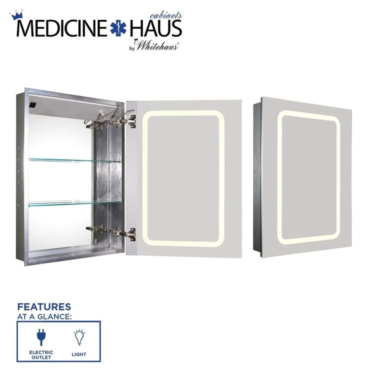 Medicinehaus Recessed Single Mirrored Door Medicine Cabinet With Outlet And  LED Power Dimmer For Light (