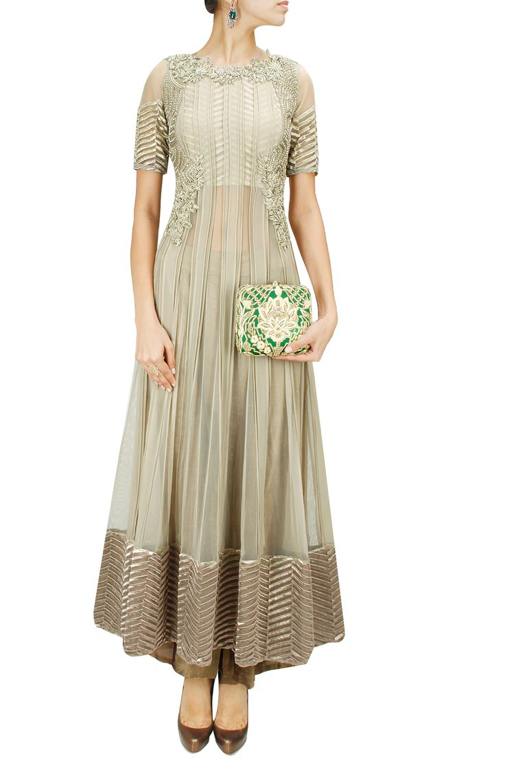 Ash grey embroidered sheer anarkali set BY RIDHIMA BHASIN.