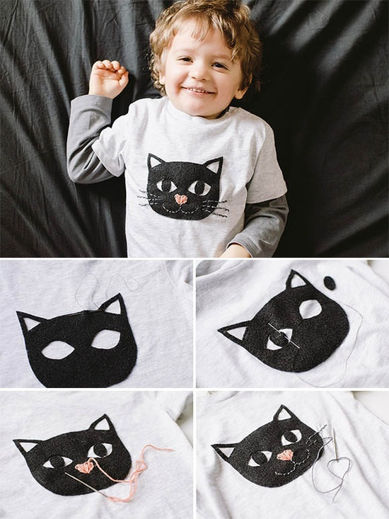 ( tutorial, diy clothes,reciclar , ropa , personalizar ropa, diy , cat, kids,felt, fieltro, embrodery, fashion)