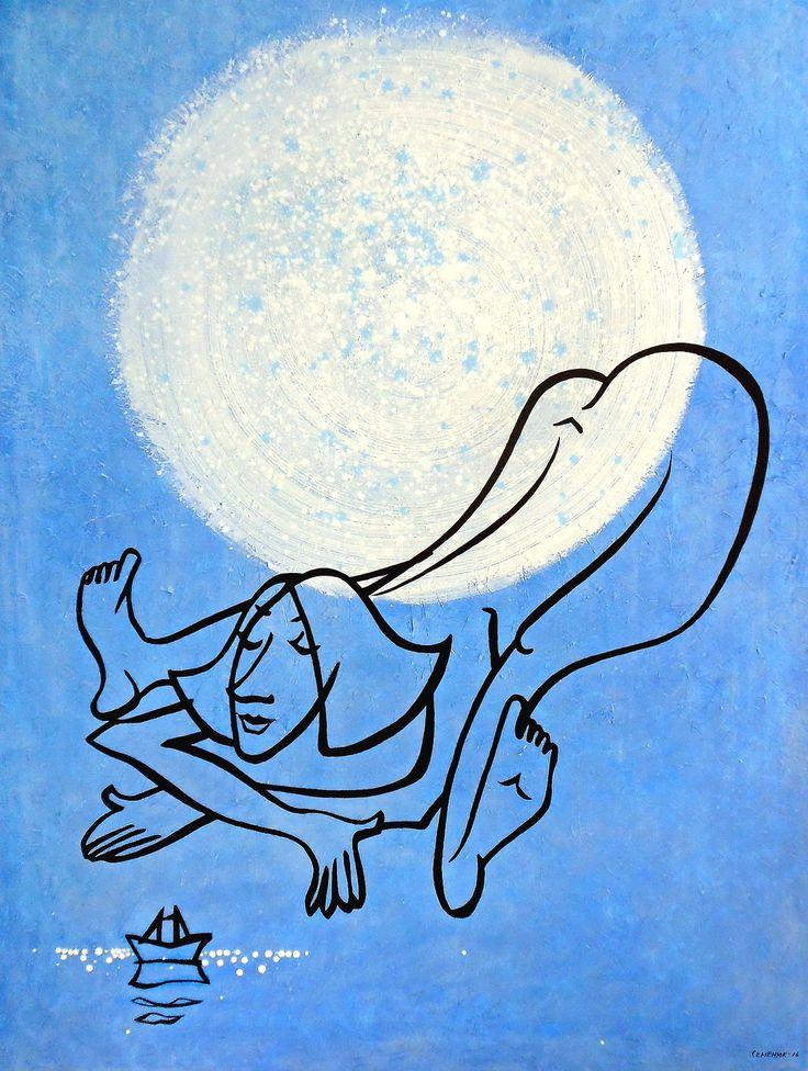 "'Under acrylic moon'. 2016. Acrylic on canvas. 120x90cm. ""Под акриловой луной"". 2016. Холст, акрил. 120x90cm.   #art #artist #semenyuk #artsemenyuk #semenyukart #семенюк #живопись #искусство #painting #хокку #haiku #paperboat #солнце #луна #минимализм #sea #water #minimalism #acrylic #вода #море #nude"