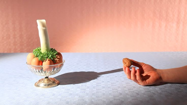 Still from 'Walnut & Leek' The 'Very Successful Advert' series. Written and directed by directing duo, A Very Successful Business. A collection of spoof commercials for unsung food stuffs such as celery, clams, cress and figs. #art direction #comedy series #adverts #commercials #walnut #leek #directors