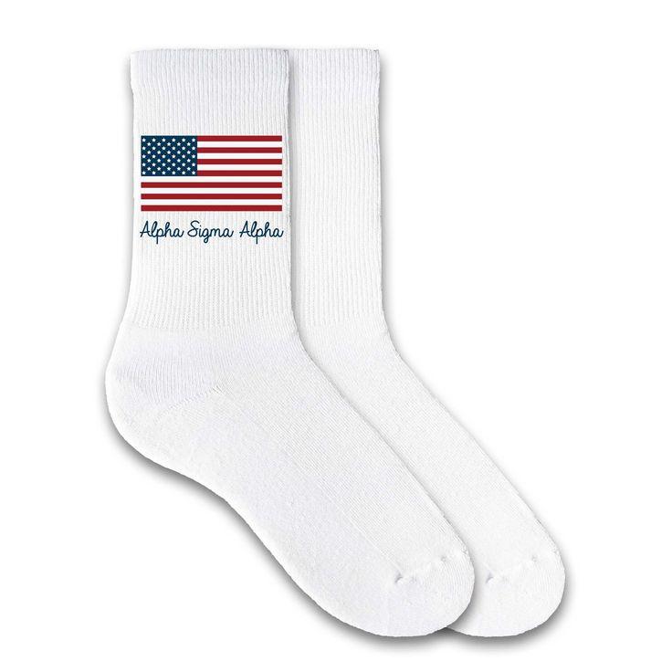 Alpha Sigma Alpha USA Flag Sorority Letters