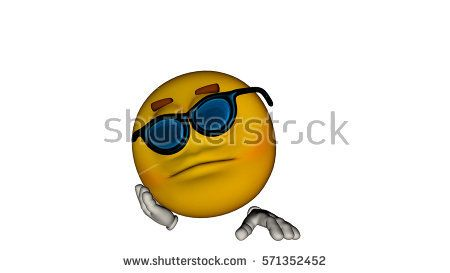 one yellow smile guy with the face. He sleeps on the arm of the glasses. 3D rendering, 3D illustration