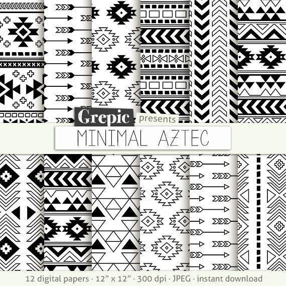 "Aztec digital paper: ""MINIMAL AZTEC"" aztec patterns tribal backgrounds geometric black white digital triangles minimal lines simple (4.90 USD) by Grepic"