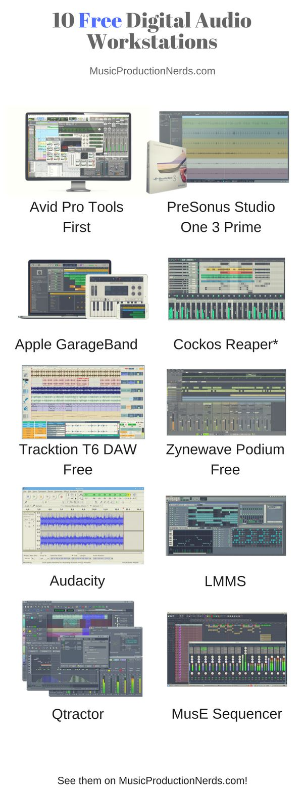Here are 10 free digital audio workstations that you can download for free! Check them out! #DAW #musicproduction #homestudio