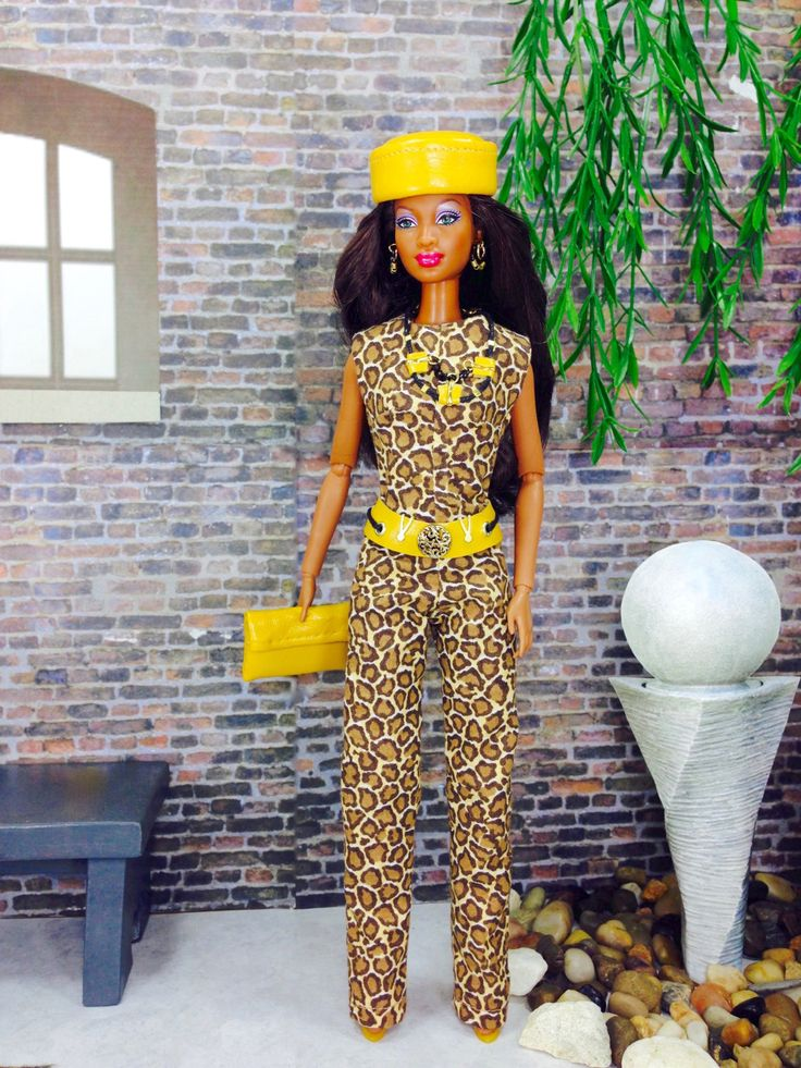 Jumpsuit for Barbie Doll - Animal Print Design Barbie Doll Jumpsuit with Hat, Purse, Belt, Necklace, Earrings, and Shoes by EnchantedStyles on Etsy